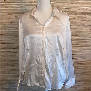 Apt. 9 cream stretch silk spandex blend button XL